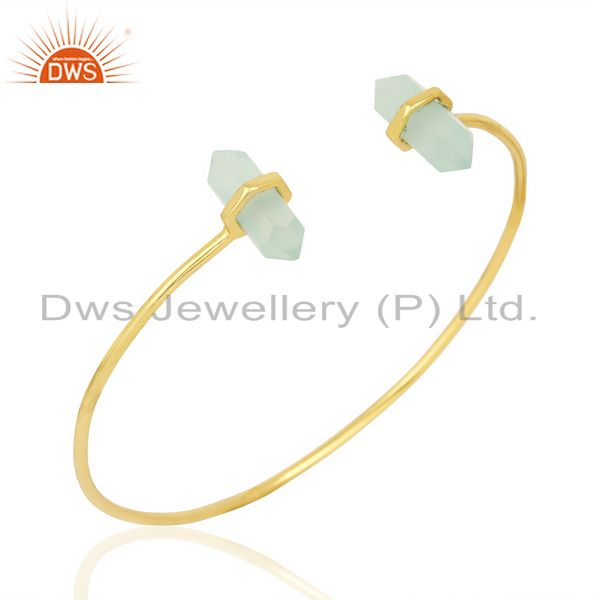 Aqua Chalcedony Terminated Pencil Point Openable Gold Plated Silver Bangle