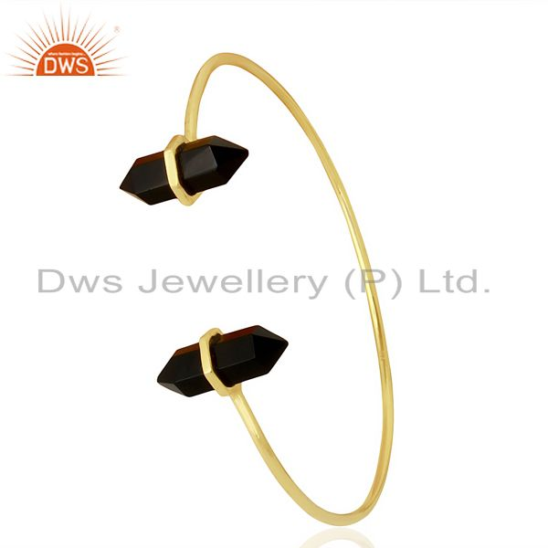 Black Onyx Terminated Pencil Point Openable Gold Plated Silver Bangle