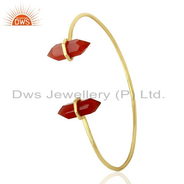 Red Onyx Terminated Pencil Point Openable Gold Plated Silver Bangle