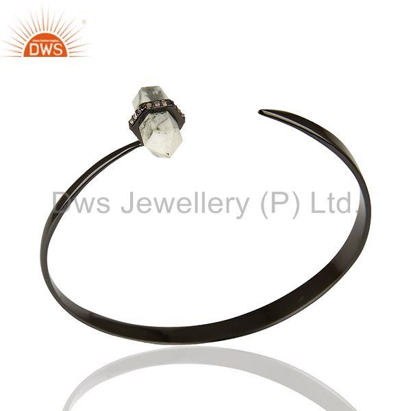Black Rhodium Plated 925 Silver White Gemstone Cuff Bracelet Jewelry