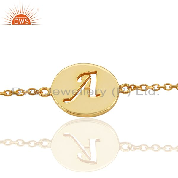 A Initial Sleek Chain 14K Gold Plated 92.5 Sterling Silver Wholesale Bracelet