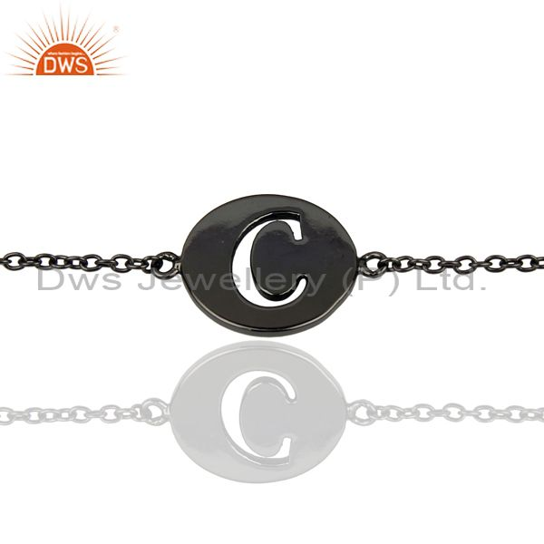 C Initial Sleek Chain Black Rhodium Plated 92.5 Sterling Silver Bracelet