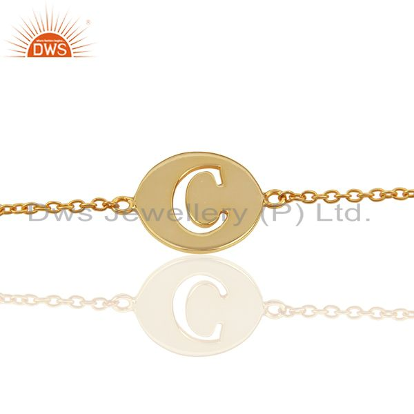 C Initial Sleek Chain 14K Gold Plated 92.5 Sterling Silver Wholesale Bracelet