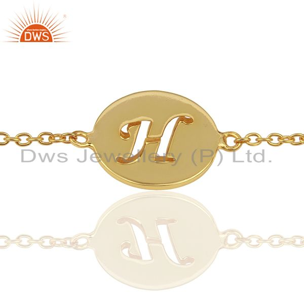 H Initial Sleek Chain 14K Gold Plated 92.5 Sterling Silver Wholesale Bracelet