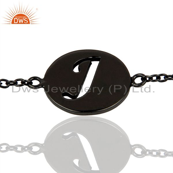 J Initial Sleek Chain Black Rhodium Plated 92.5 Sterling Silver Bracelet