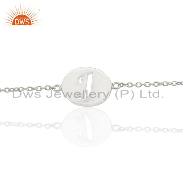 J Initial Sleek Chain 92.5 Sterling Silver Wholesale Bracelet