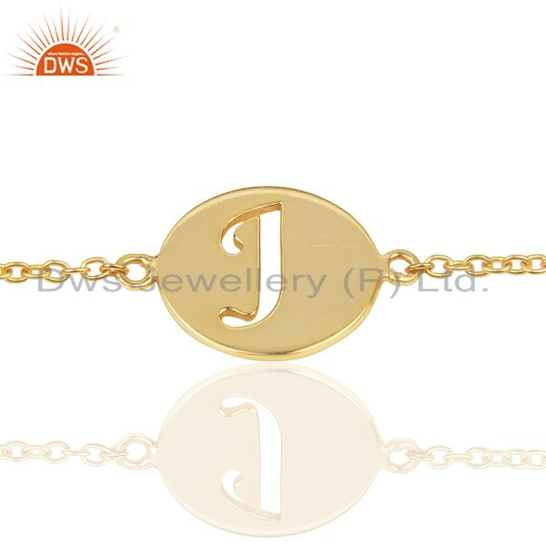 J Initial Sleek Chain 14K Gold Plated 92.5 Sterling Silver Wholesale Bracelet