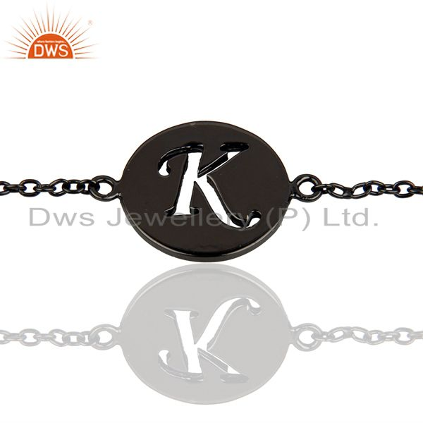 K initial sleek chain black rhodium plated 92.5 sterling silver bracelet