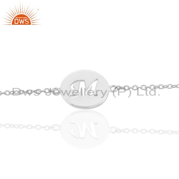 M Initial Sleek Chain 92.5 Sterling Silver Wholesale Bracelet