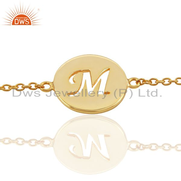 M initial sleek chain 14k gold plated 92.5 sterling silver wholesale bracelet