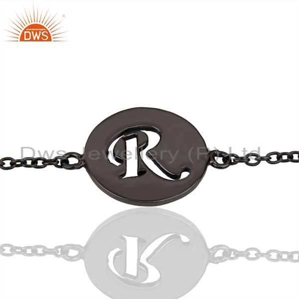 RInitial Sleek Chain Black Rhodium Plated 92.5 Sterling Silver Bracelet