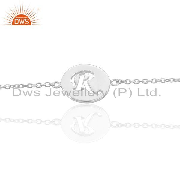 R Initial Sleek Chain 92.5 Sterling Silver Wholesale Bracelet