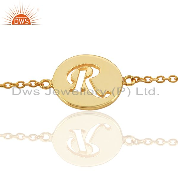 R Initial Sleek Chain 14K Gold Plated 92.5 Sterling Silver Wholesale Bracelet