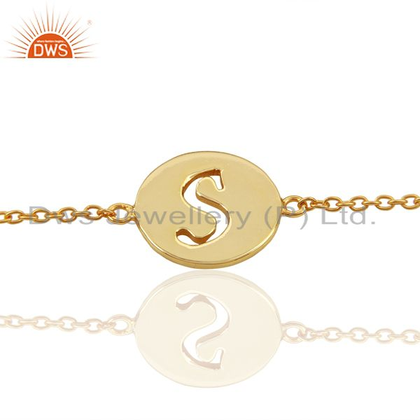 S Initial Sleek Chain 14K Gold Plated 92.5 Sterling Silver Wholesale Bracelet