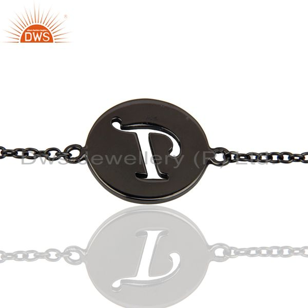 T Initial Sleek Chain Black Rhodium Plated 92.5 Sterling Silver Bracelet