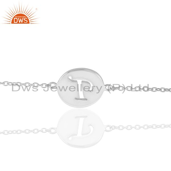 T Initial Sleek Chain 92.5 Sterling Silver Wholesale Bracelet