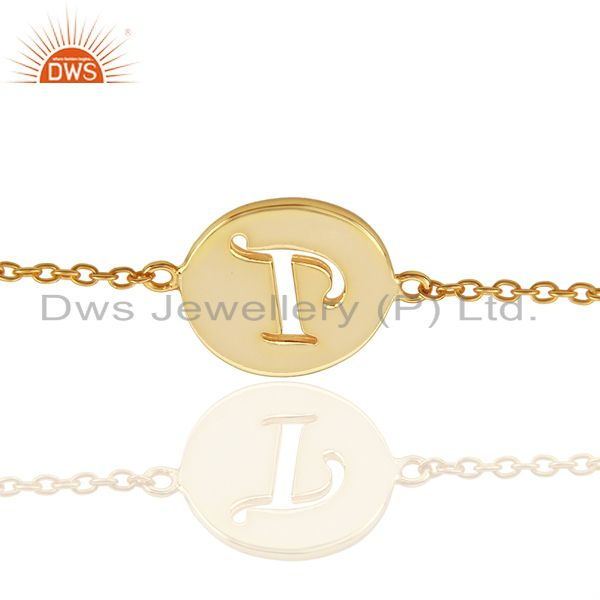 T initial sleek chain 14k gold plated 92.5 sterling silver wholesale bracelet