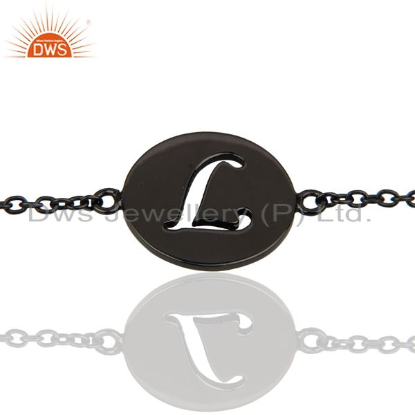 L Initial Sleek Chain Black Rhodium Plated 92.5 Sterling Silver Bracelet