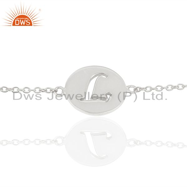 L Initial Sleek Chain 92.5 Sterling Silver Wholesale Bracelet
