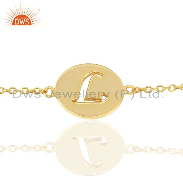 L Initial Sleek Chain 14K Gold Plated 92.5 Sterling Silver Wholesale Bracelet