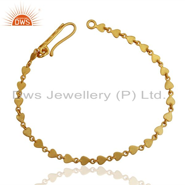 14K Yellow Gold Plated 925 Sterling Silver Heart Design Chain Bracelet Jewelry