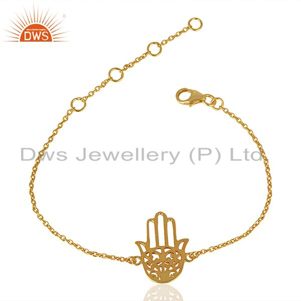 Hamsa 925 Sterling Silver 18k Yellow Gold Plated Hand Bracelet