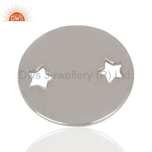 Silver Round Stamping Tag Star Engraving 925 Sterling Silver Jewellery Finding
