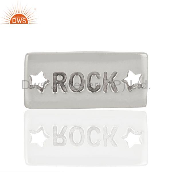 Stars Engraved Rock Hand Stamped 925 Sterling Silver Jewellery Finding