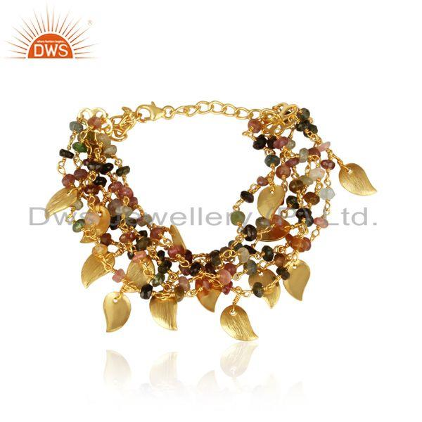 Designer Tourmaline Beads Bold Bracelet in Yellow Gold on Silver