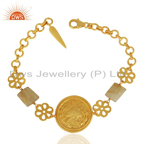 Handcrafted gold plated plain silver bracelet jewelry manufacturer
