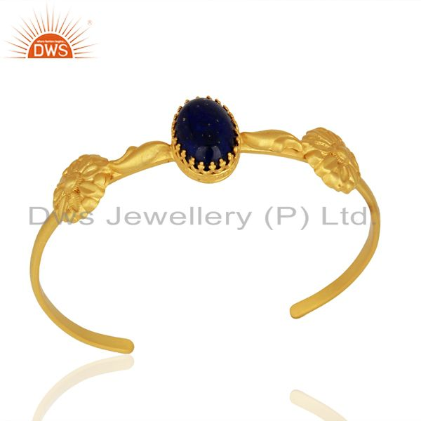 Gold Plated 925 Silver Lapis Gemstone Cuff Bangle Bracelet Jewelry
