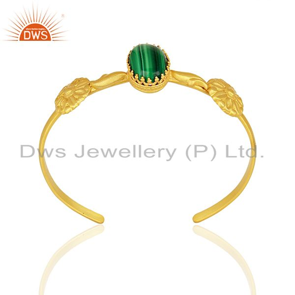 Malachite Gemstone Gold Plated 925 Silver Cuff Bracelet Supplier