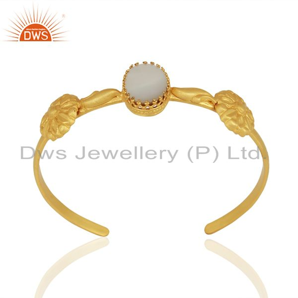 Mother of pearl gemstone gold plated silver cuff bracelet manufacturer