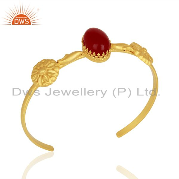 Red Aventurine Gemstone Gold Plated 925 Silver Cuff Bangle Bracelet