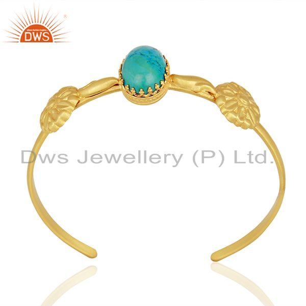 Natural Turquoise Gemstone Gold Plated Silver Fashion Cuff Bracelet