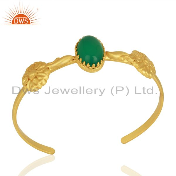 Handmade Gold Plated 925 Silver Green Onyx Gemstone Cuff Bangle