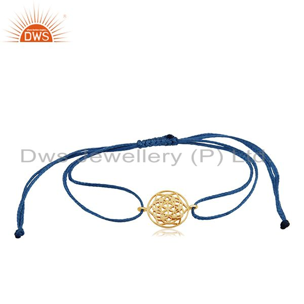 Indian chakra design 925 silver gold plated bracelet manufacturer