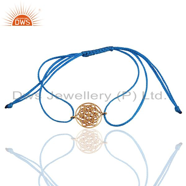 Flower of Life 925 Sterling Silver 18k Rose Gold Plated Blue Thread Bracelet
