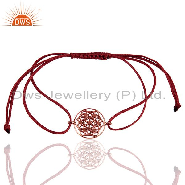 Flower of life 925 sterling silver 18k rose gold plated brown thread bracelet