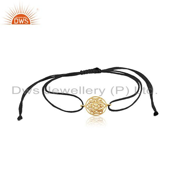 Flower of Life 925 Sterling Silver 18k Gold Plated On Dark Blue Thread Bracelet