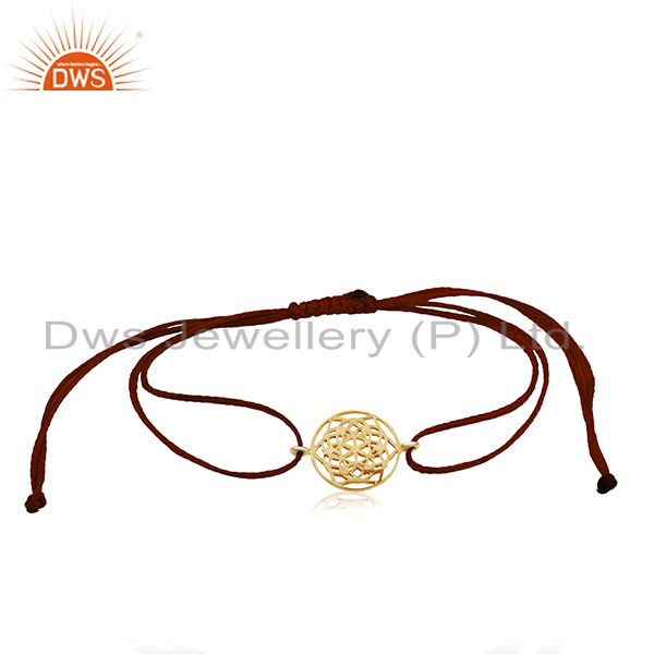 Flower of Life 925 Sterling Silver 18k Yellow Gold Plated Bracelet On Thread
