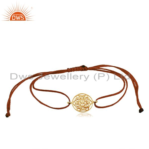 Flower of life 925 sterling silver yellow gold plated bracelet on orange thread