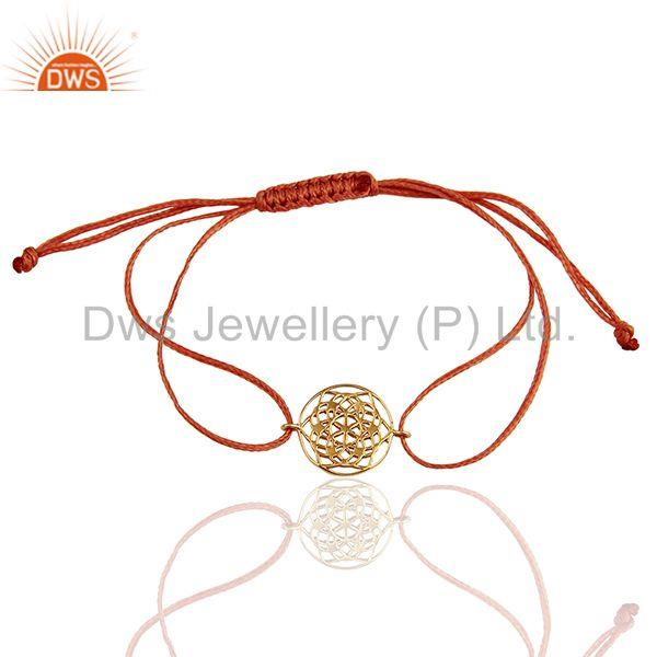 Flower of Life 925 Sterling Silver 18k Rose Gold Plated Orange Thread Bracelet