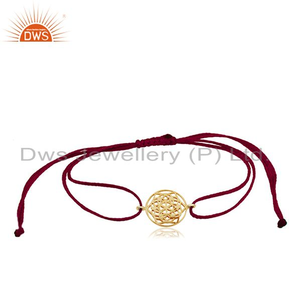Flower of Life 925 Sterling Silver 18k Gold Plated Bracelet On Thread