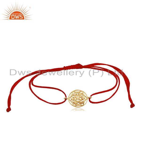 Flower of Life 925 Sterling Silver 18k  Gold Plated Red Thread Bracelet Jewelry