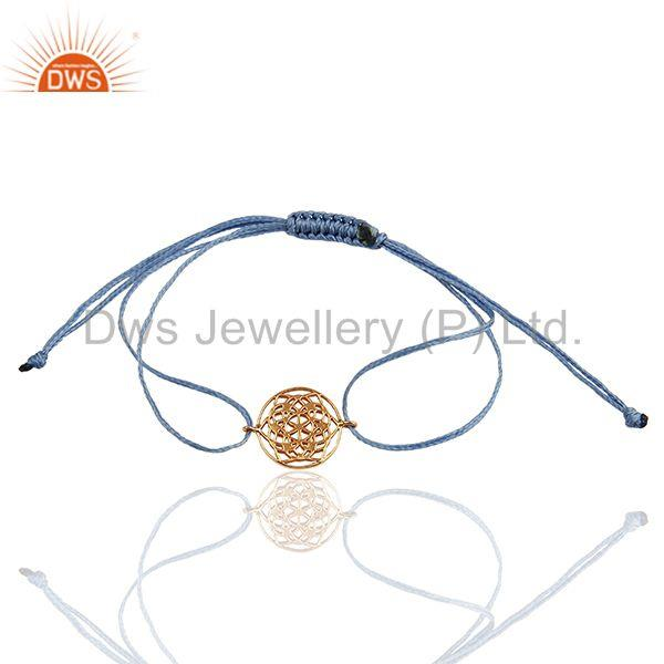 Flower of Life 925 Sterling Silver 18k Rose Gold Plated Sky Blue Thread Bracelet