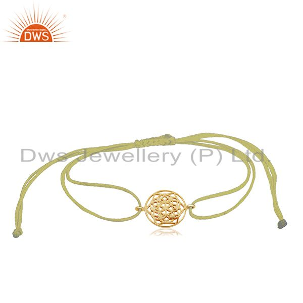 Flower of Life 925 Sterling Silver 18k Gold Plated On Yellow Thread