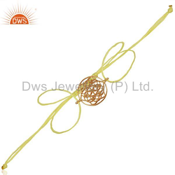 Flower of Life 925 Sterling Silver 18k Rose Gold Plated Yellow Thread Bracelet