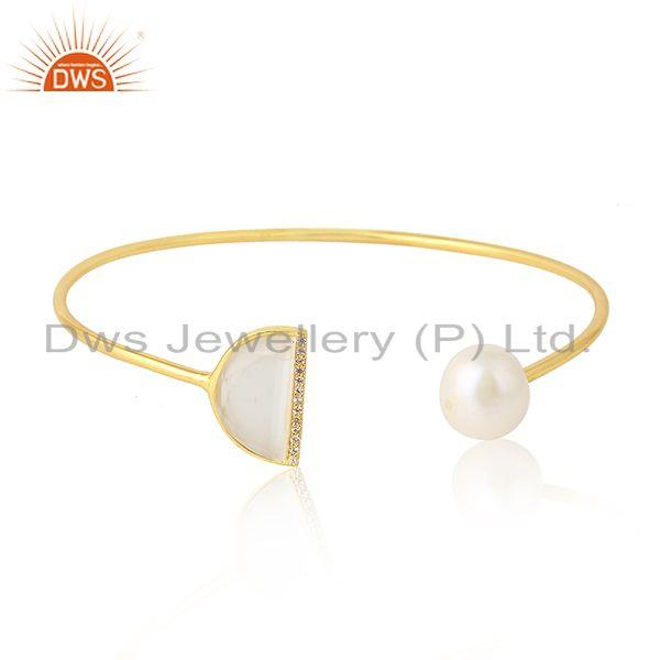 White Moonstone Pearl Gemstone Womens Gold Plated Silver Cuff Bangle