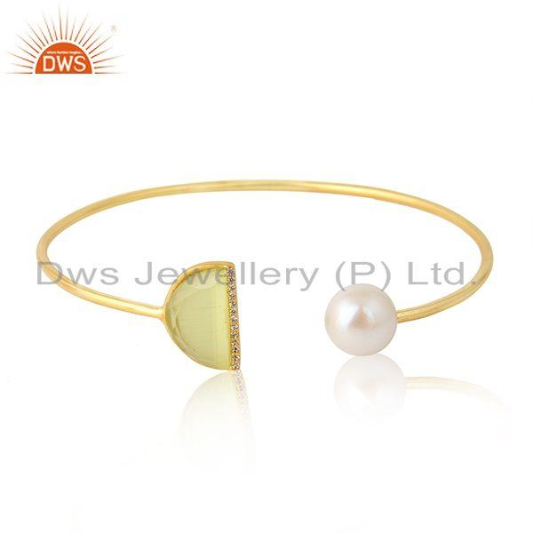 Natural Pearl Yellow Moonstone Designer Gold Plated Cuff Bangles